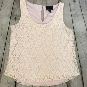 Lace top with pink underlay